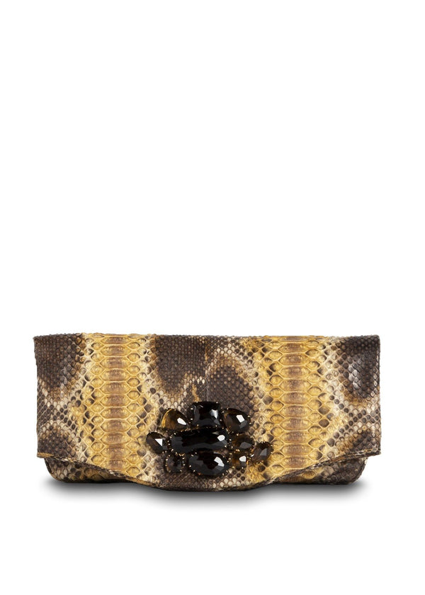 Smokey Topaz Embellished Gold & Brown Fold Over Clutch - Darby Scott