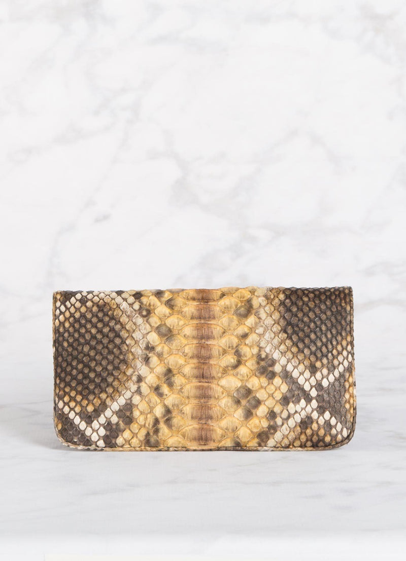 Back View of Mustard Brown Mini Convertible Clutch - Darby Scott