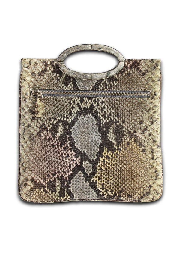 Open view of Pastel Multi-Colored Python Convertible fold over Clutch - Darby Scott --alternate
