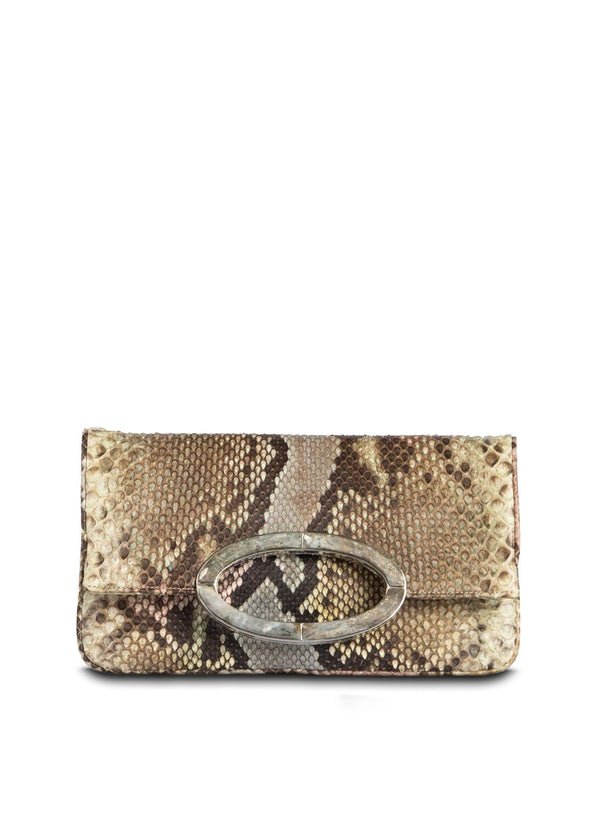 Pastel multi color Python Convertible fold over Clutch - Darby Scott