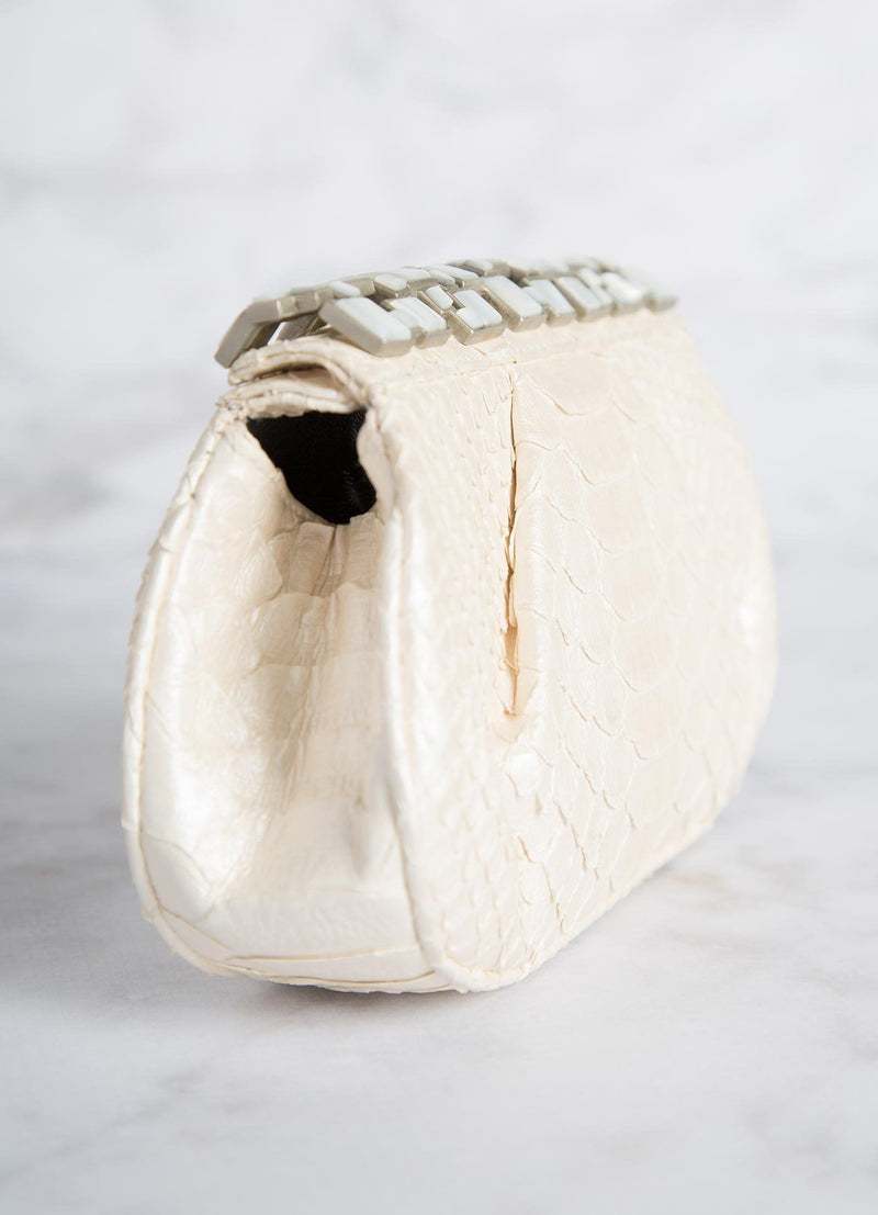 Pearl Art Deco Clutch Side View - Darby Scott