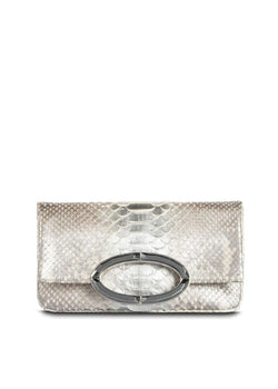 Mini Fold over Clutch in Silver Metallic Python with Hematite Handle - Darby Scott