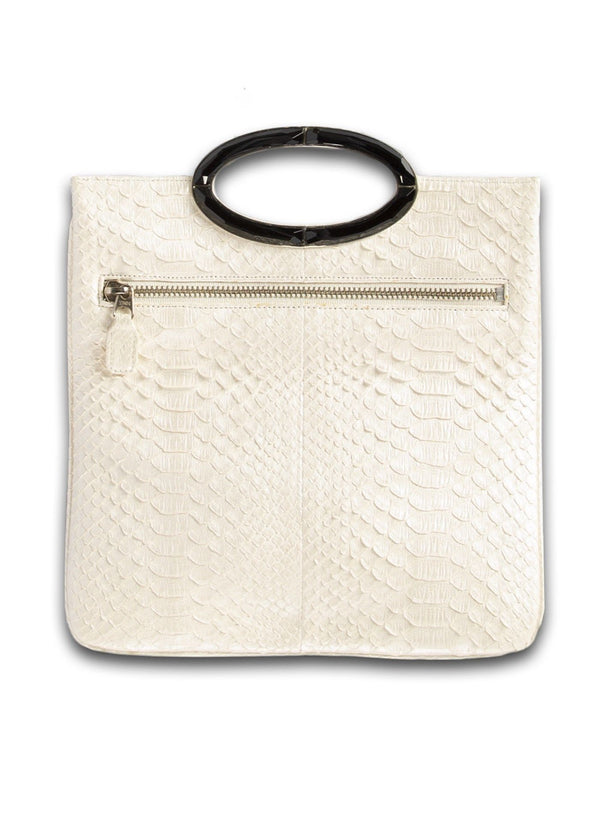Open view of Pearl colored Mini Convertible Fold over Clutch - Darby Scott --alternate