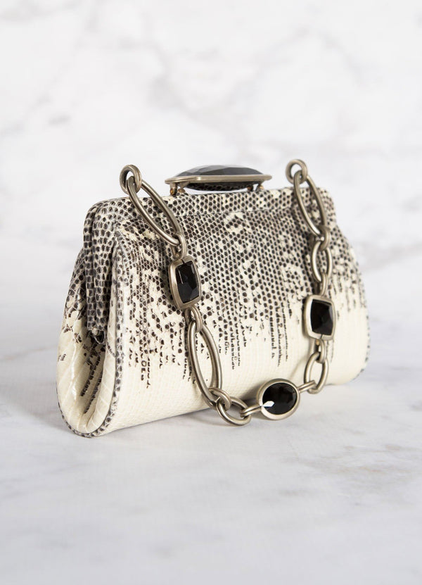 Black & White Ring Lizard Chain & Jewel Micro Handbag, Side View - Darby Scott--alternate