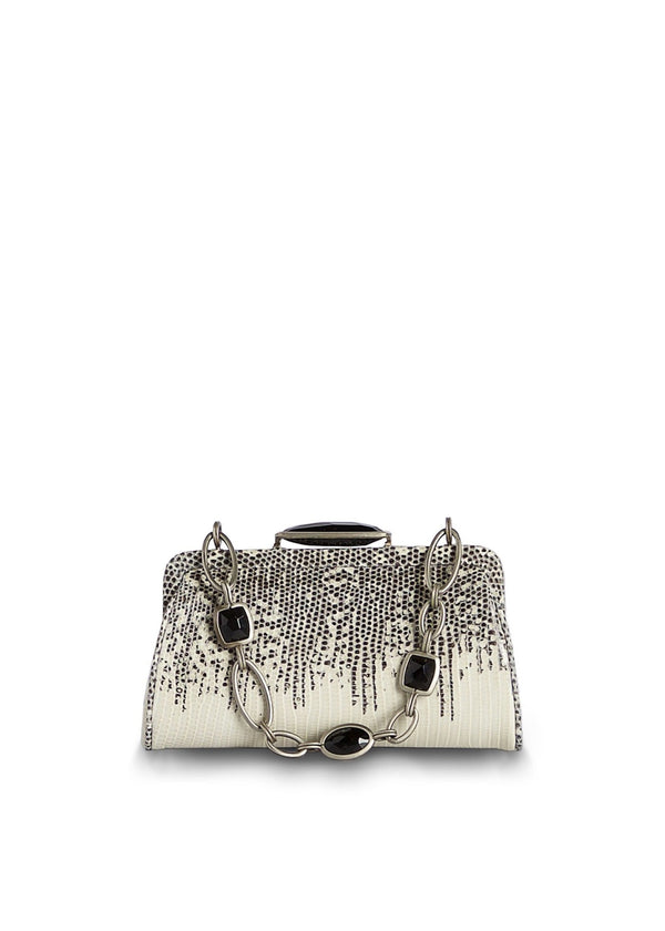 Black & White Ring Lizard Chain & Jewel Micro Handbag with Black Onyx - Darby Scott