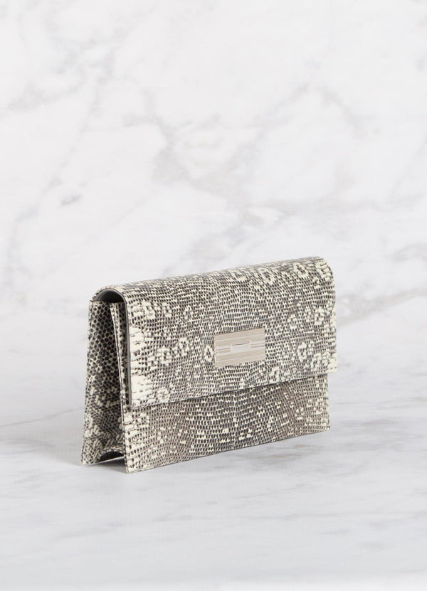 Side view Black & White Lizard Clutch with Silver Monogram Plate - Darby Scott--alternate