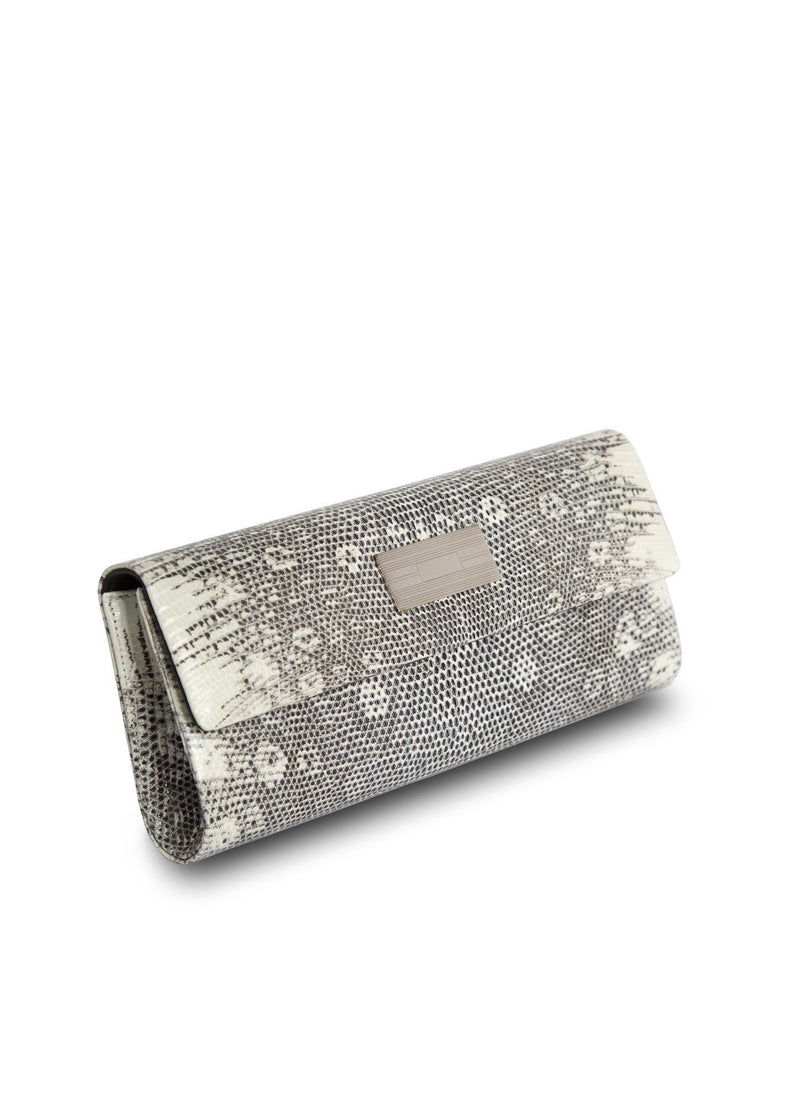 Side View Black & White Ring Lizard Roll Clutch - Darby Scott