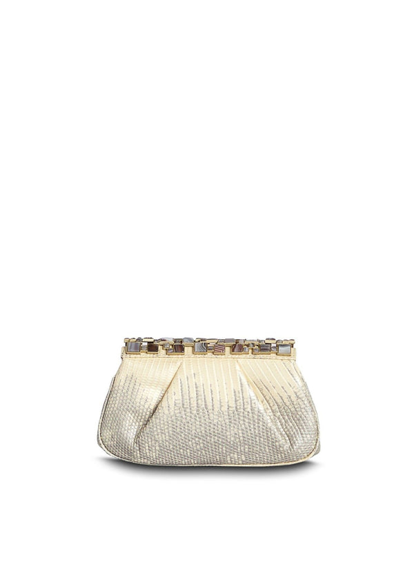 Silver-Pearl Ring Lizard Clutch with Agate top - Darby Scott