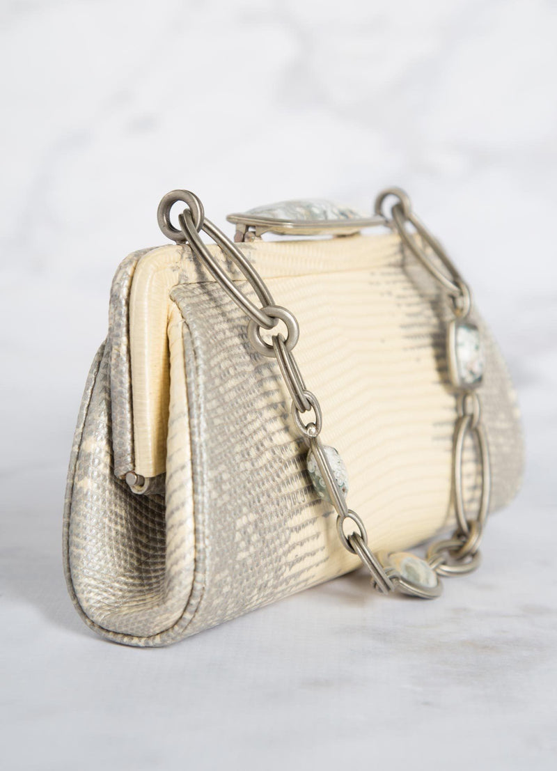 Pearl Ring Lizard Chain & Jewel Micro Handbag, Side View - Darby Scott