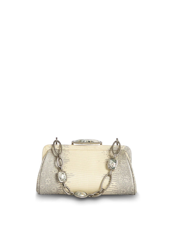 Pearl Ring Lizard Chain & Jewel Micro Handbag, Front View - Darby Scott