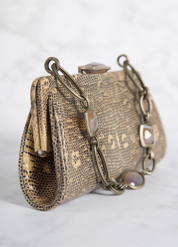 Tan Ring Lizard Chain & Jewel Micro Handbag, Side View - Darby Scott--alternate