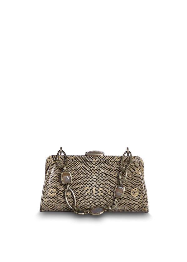 Tan Ring Lizard Chain & Jewel Micro Handbag, Front View - Darby Scott