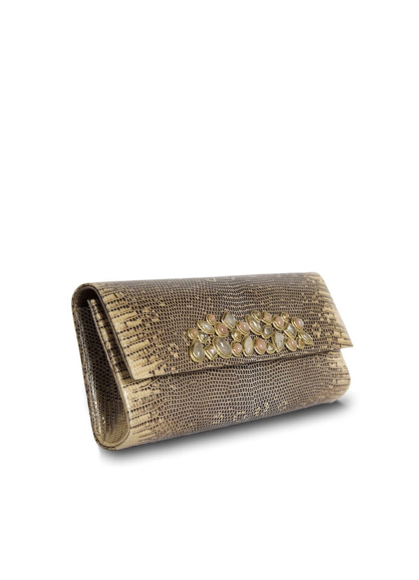 Side view of Cafe Ring Lizard Mosaic Roll Clutch - Darby Scott--alternate
