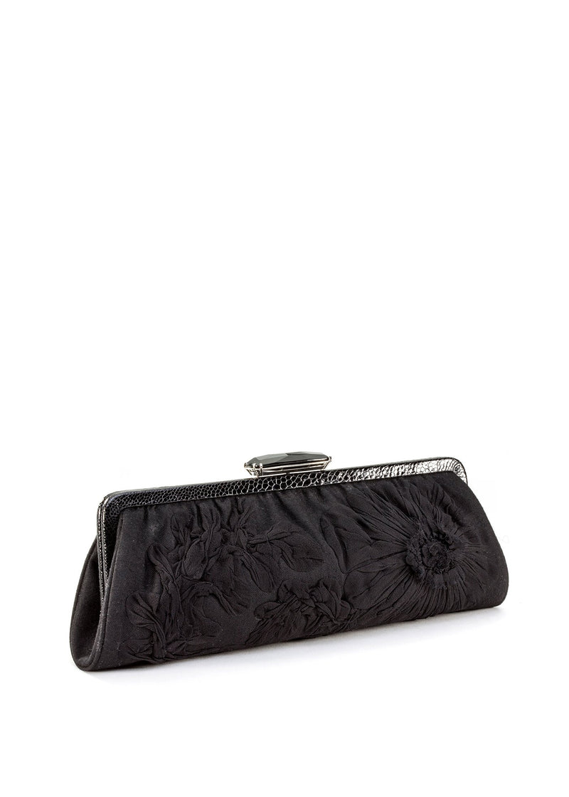 Black onyx toplock on a black long clutch - Darby Scott
