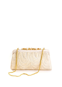 Ivory Embroidered Silk Mini Clutch - Darby Scott