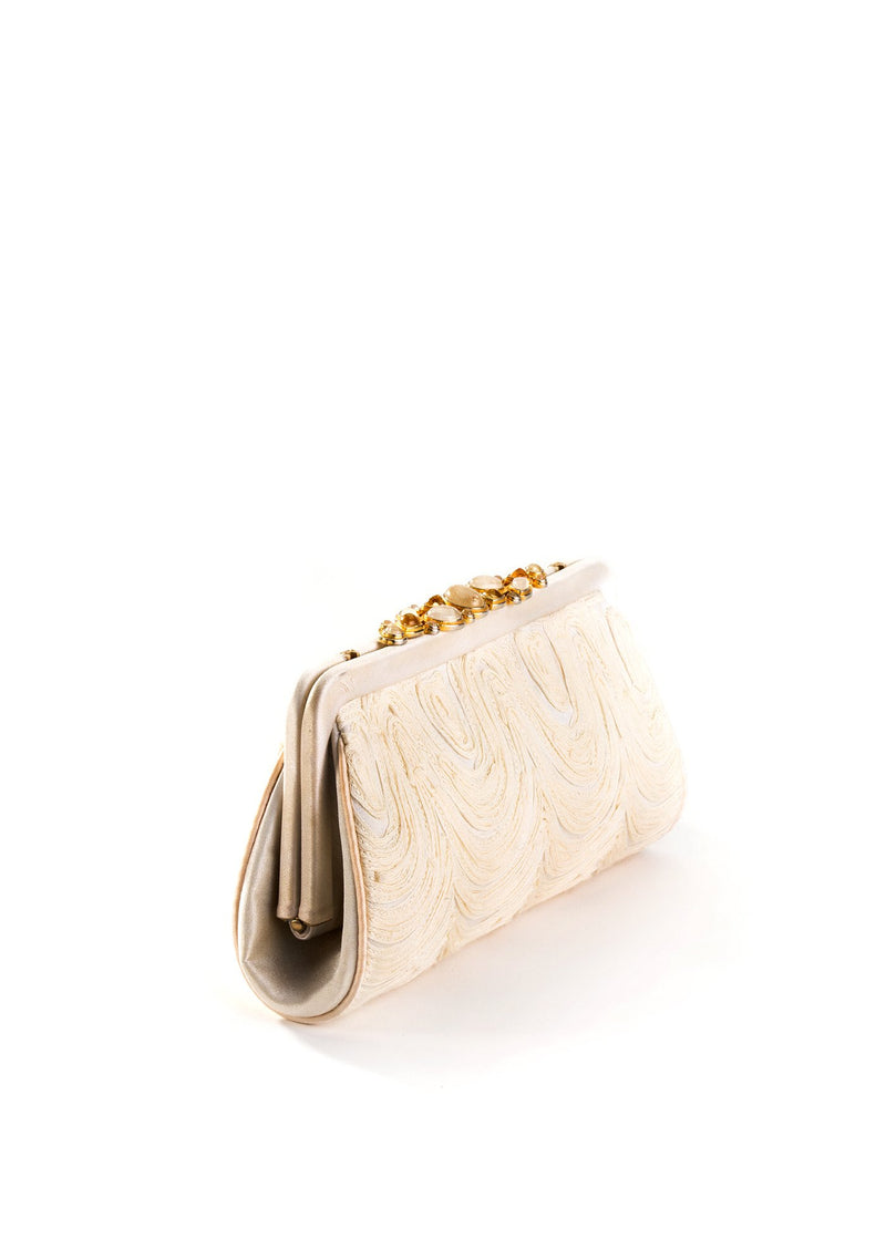 Bridal Clutch in Ivory Embroidered Silk - Darby Scott