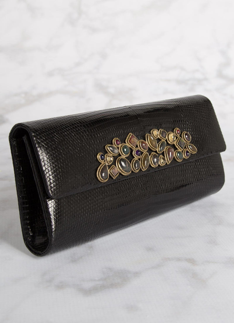 Side view Black Teju Lizard Mosaic Roll Clutch - Darby Scott