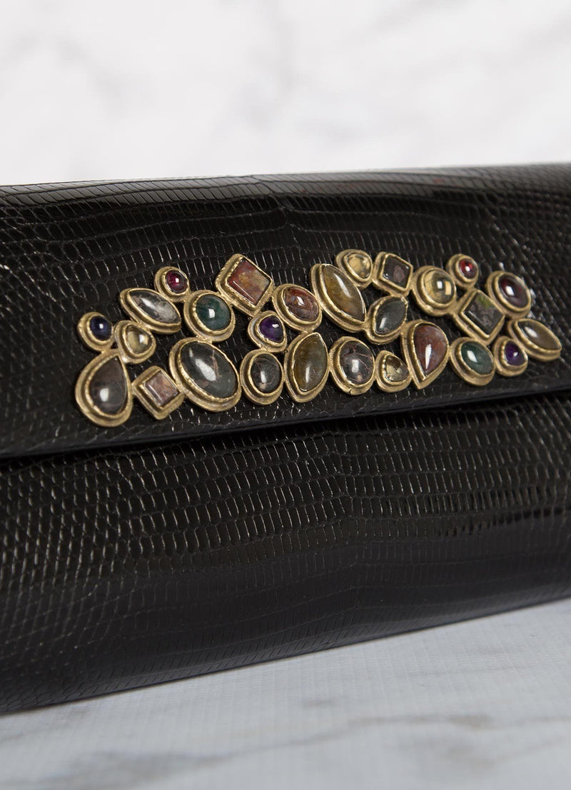 Close up Cabochon Embellishment on a Black Teju Lizard Clutch - Darby Scott