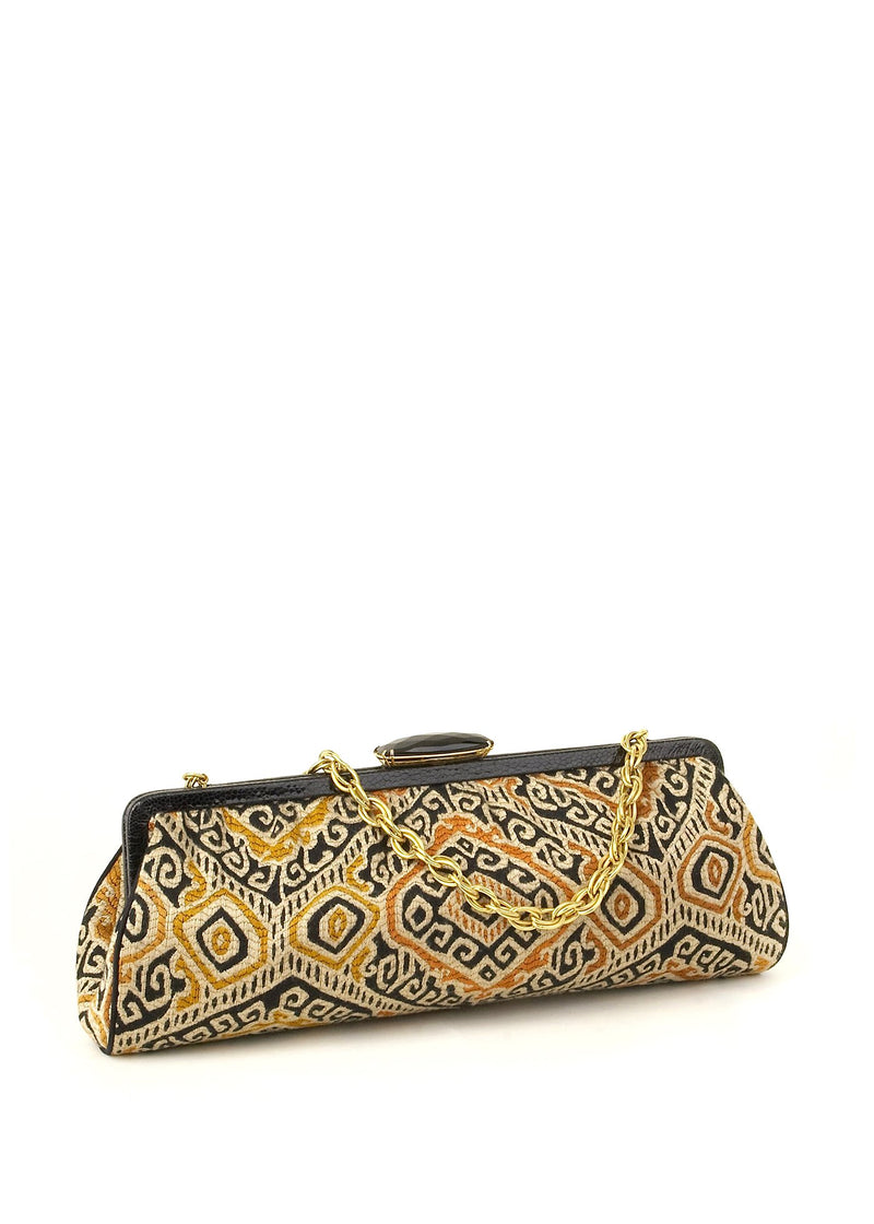 Bold print textile with ostrich trim clutch - Darby Scott
