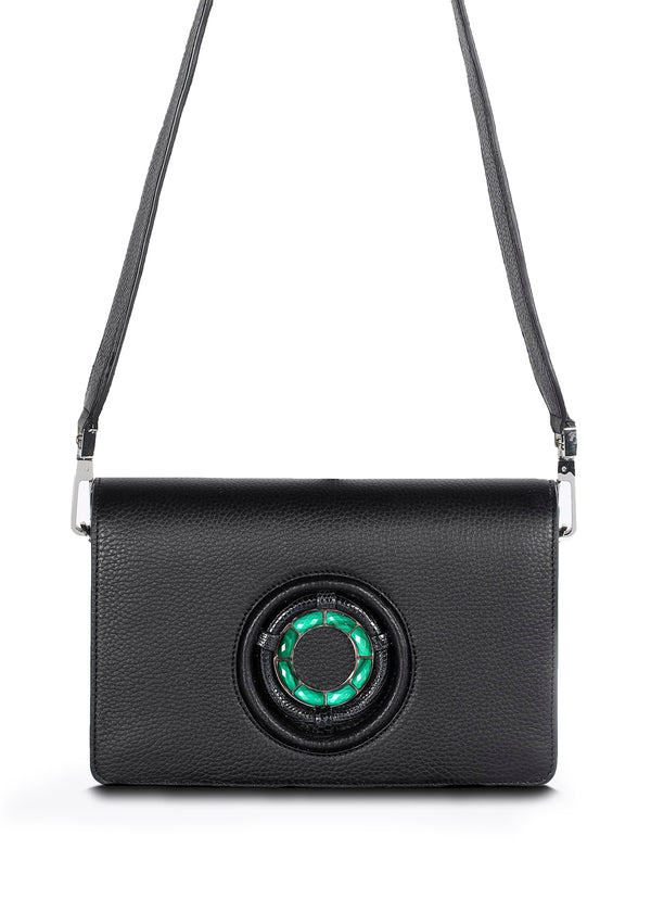 Black Leather Anna Crossbody Clutch with Malachite Gemstone Grommet - Darby Scott