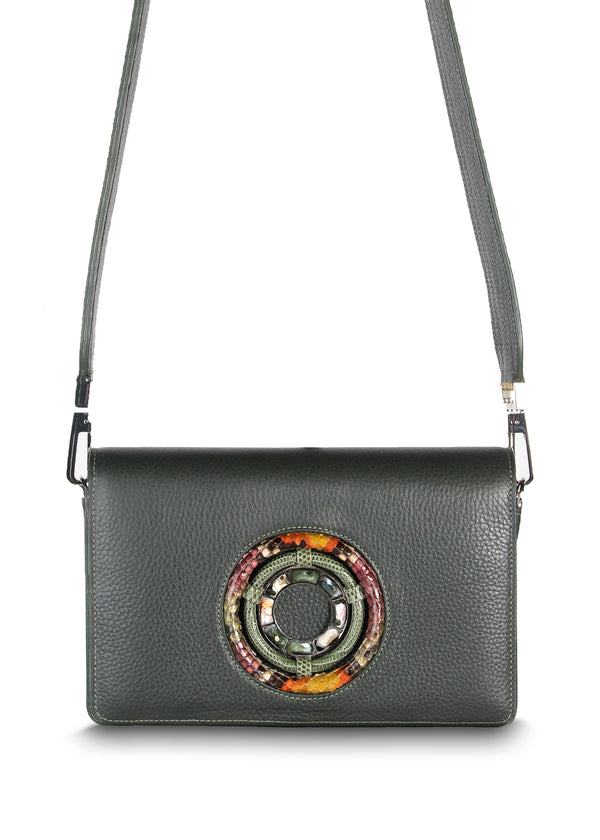 Anna Crossbody Clutch in Dark Green Leather with Jasper Gemstones - Darby Scott