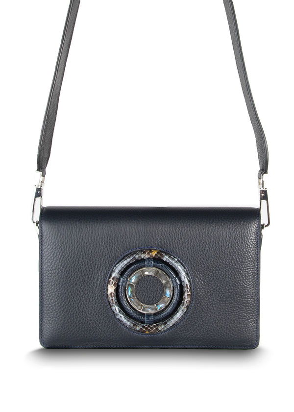 Anna Crossbody Clutch in Navy Leather with Labradorite Gemstones - Darby Scott
