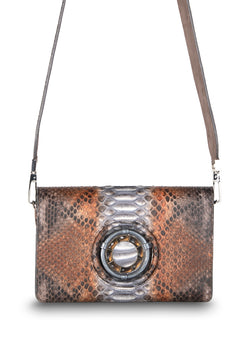 Anna Crossbody Clutch in Brown Multi-Color Python with Tiger Eye Gemstones - Darby Scott