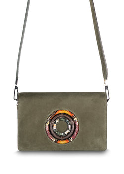 Anna Crossbody in Olive Suede with Multi Color Python strap and trim - Darby Scott