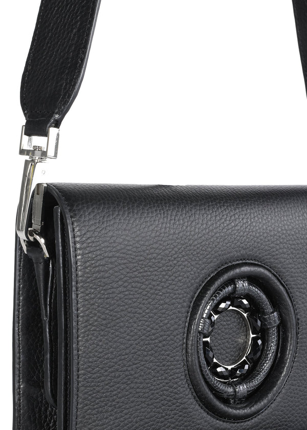 Black Onyx Grommet Detail on Black Leather Anna Crossbody - Darby Scott--alternate