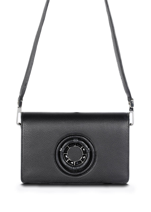 Black Leather Anna Crossbody Clutch - Darby Scott