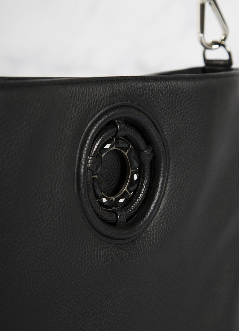 Detail view of Black Onyx Grommet on Black Leather Cloe Crossbody - Darby Scott