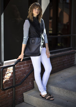 Model with Black Cloe Crossbody Tote - Darby Scott