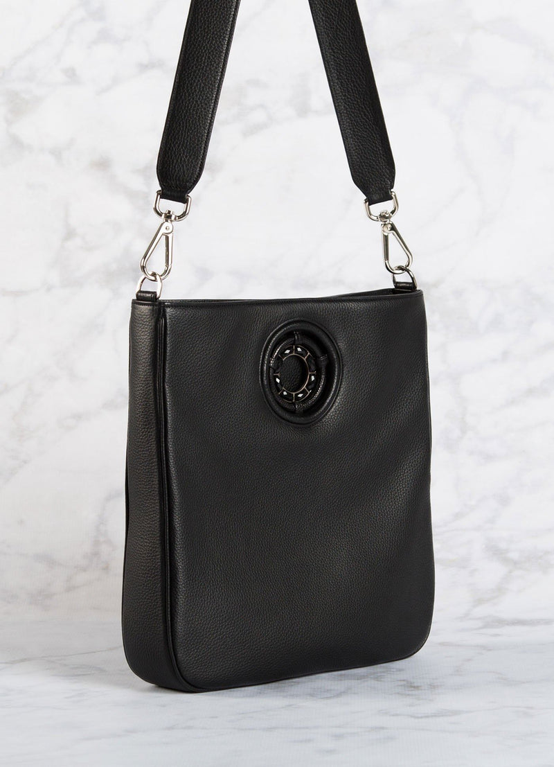 Black leather Cloe crossbody tote with black onyx grommet - Darby Scott