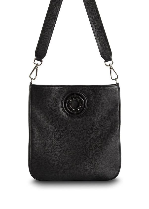 Black leather crossbody Cloe tote - Darby Scott--alternate