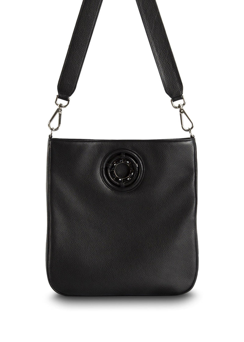 Black leather crossbody Cloe tote - Darby Scott