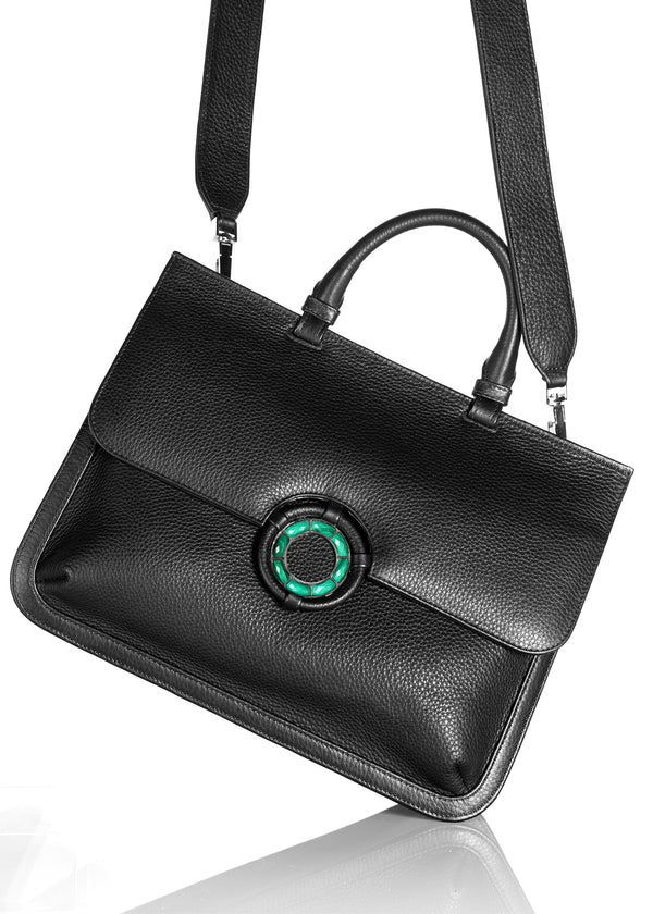Crossbody strap on black leather grommet saddle bag - Darby Scott