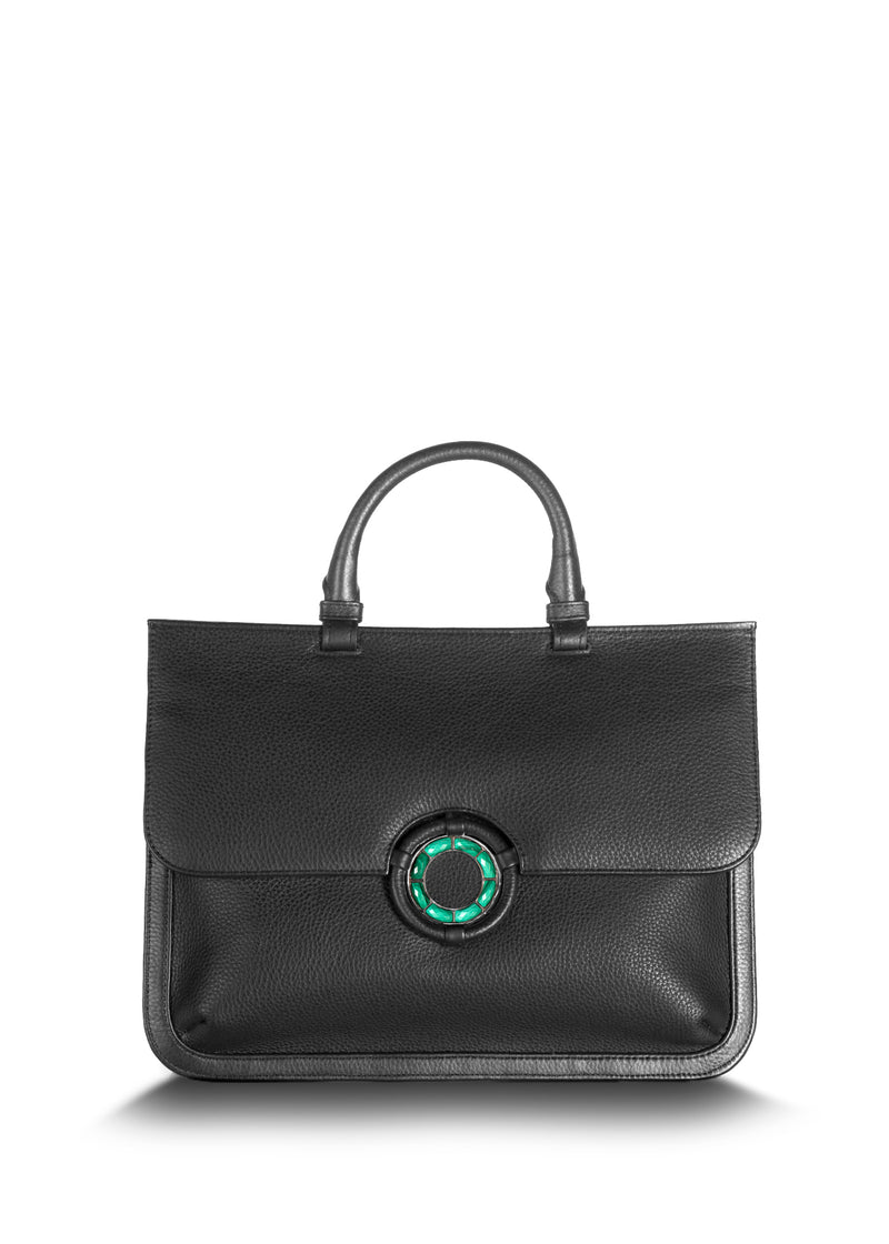 Black leather saddle bag with malachite grommet - Darby Scott