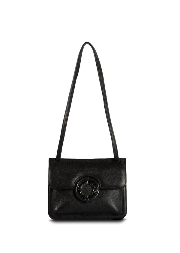 Black Leather with Black Onyx and Lizard Trim Grommet Mini Saddle Bag - Darby Scott--alternate