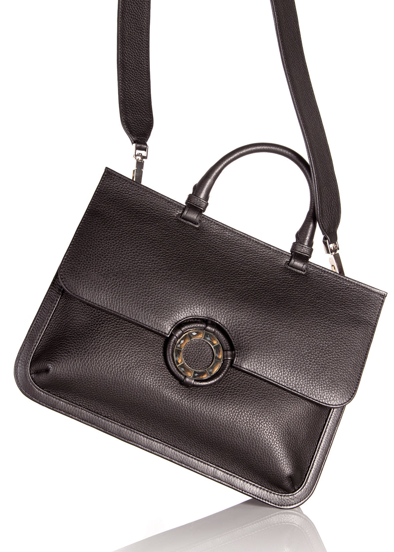 Crossbody strap attached to brown leather top handle saddle bag - Darby Scott