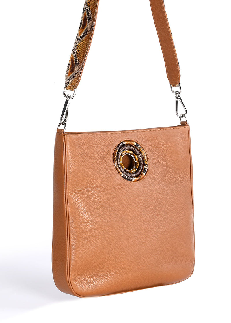 Side Gusset and Strap Detail on Cognac Leather Cloe Tote - Darby Scott