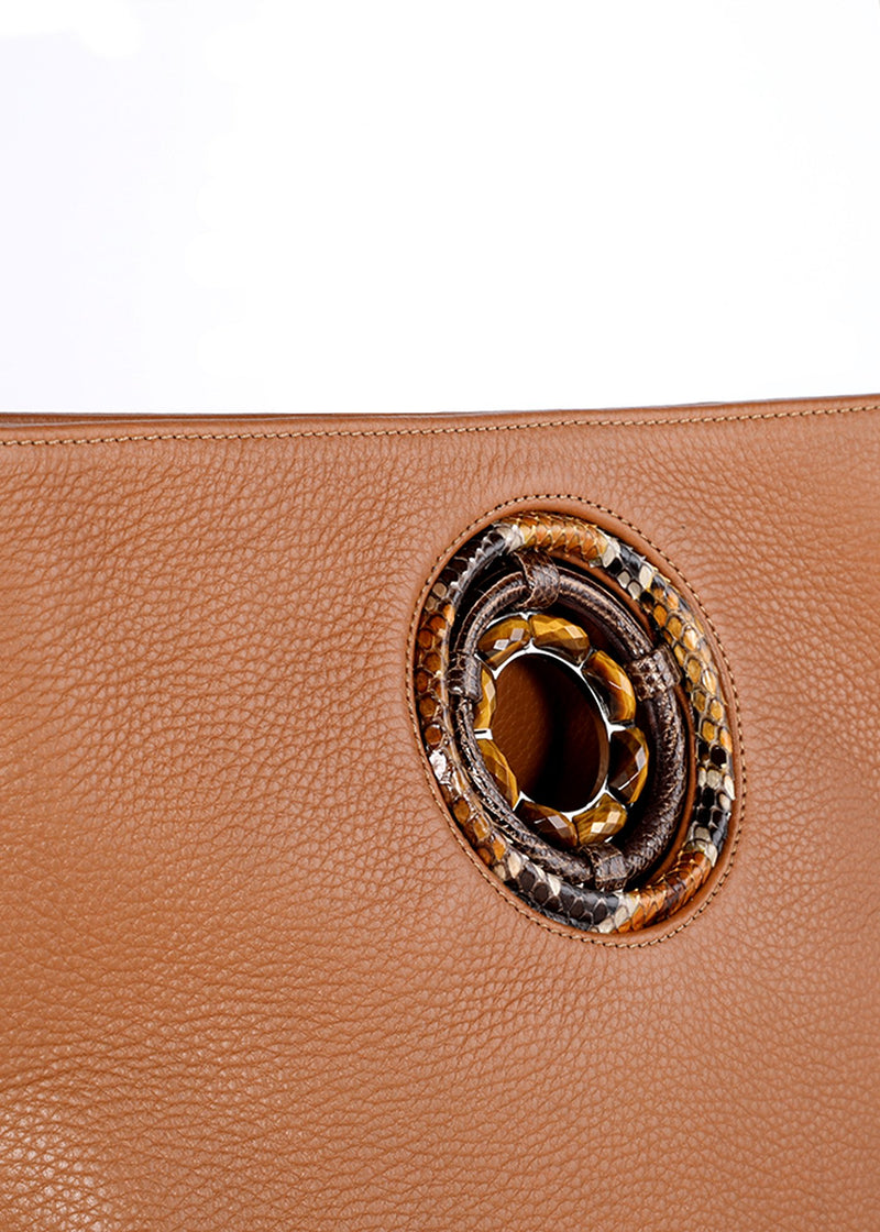 Tiger Eye Grommet Detail on Cloe Leather Tote - Darby Scott
