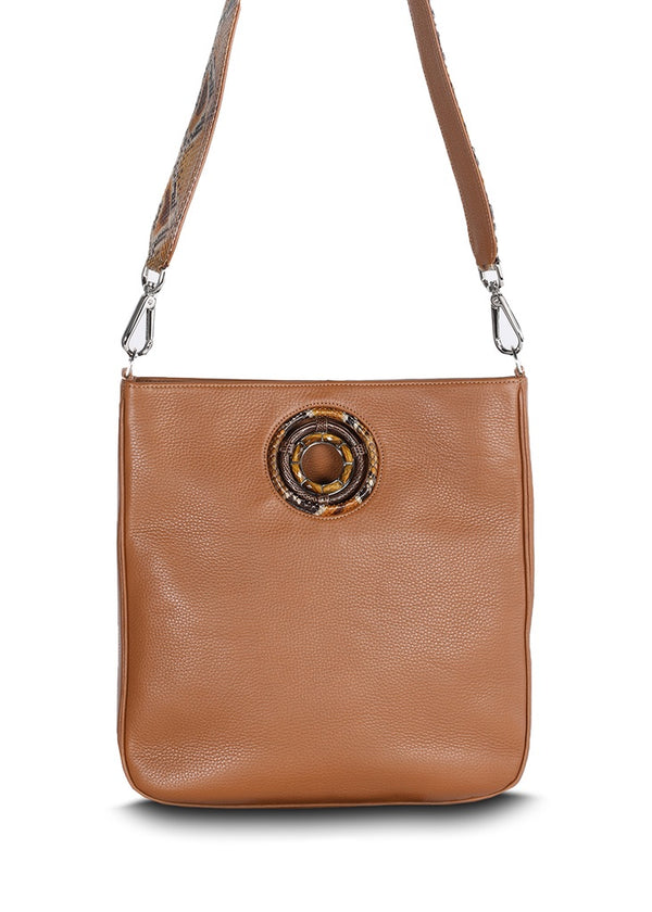 Cloe crossbody tote in cognac pebble leather - Darby Scott