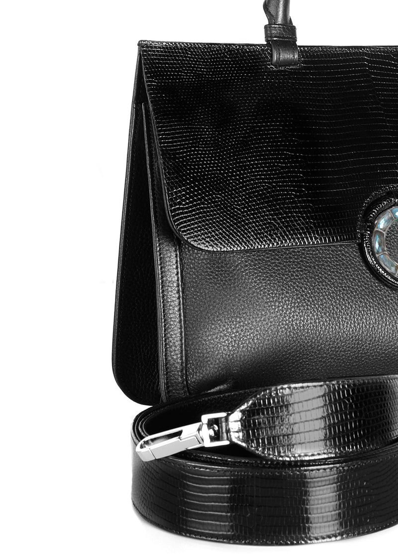 Black lizard & leather crossbody strap and detail front of saddle bag - Darby Scott
