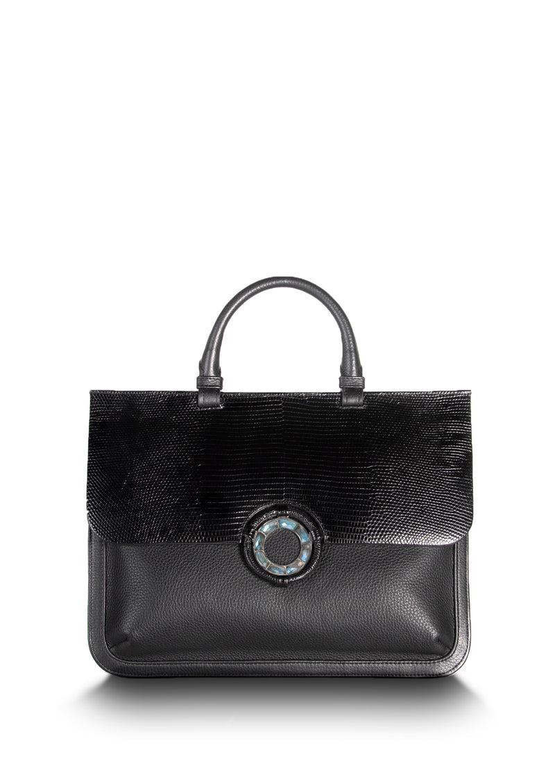 Black leather and lizard top handle saddle bag with labradorite grommet - Darby Scott