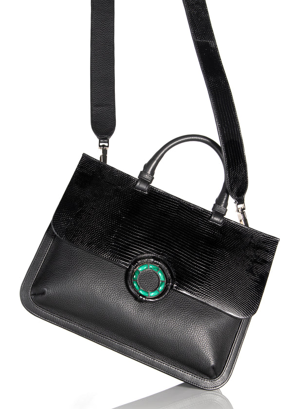 Top Handle and Crossbody Strap on Black Saddle Bag - Darby Scott