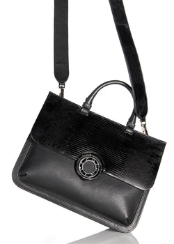 View of Top Handle & Crossbody Strap on Black Leather & Lizard Saddle Bag- Darby Scott