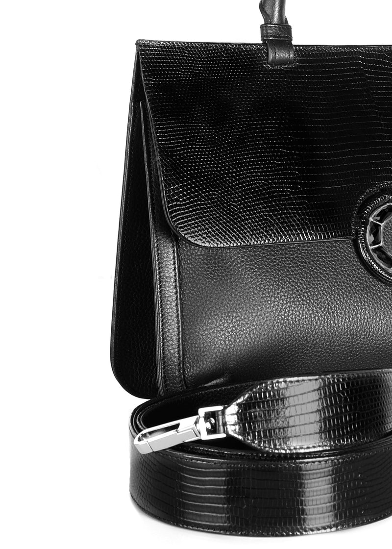 Detail view of strap and side on Black Leather & Lizard Saddle Bag - Darby Scott