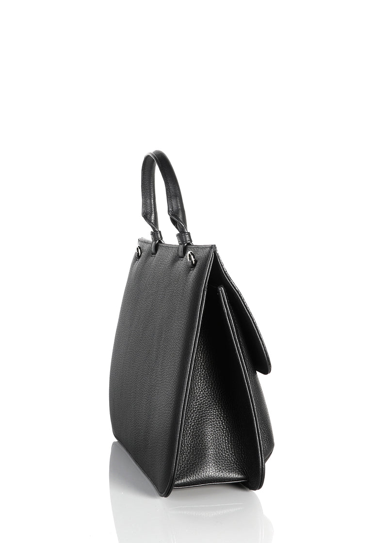 Side gusset of black leather & lizard top handle grommet saddle bag - Darby Scott