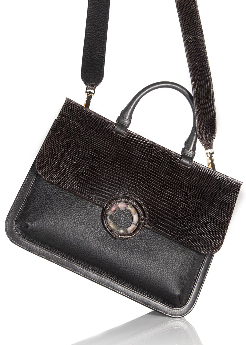 Brown Leather & Lizard Saddle with crossbody strap - Darby Scott