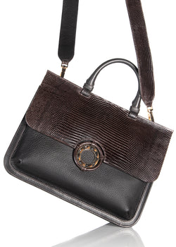 Top handle and crossbody strap on brown leather & lizard saddle bag - Darby Scott